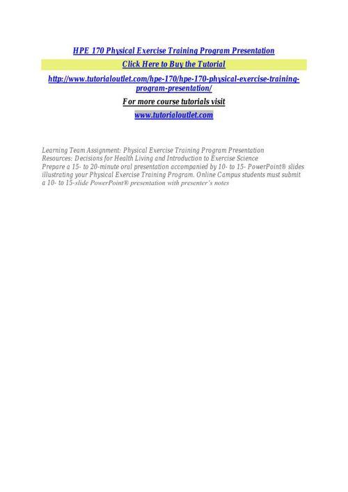 HPE 170 Physical Exercise Training Program Presentation