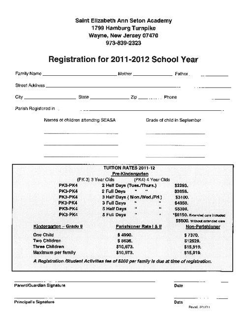 2011-2012 Registration Packet