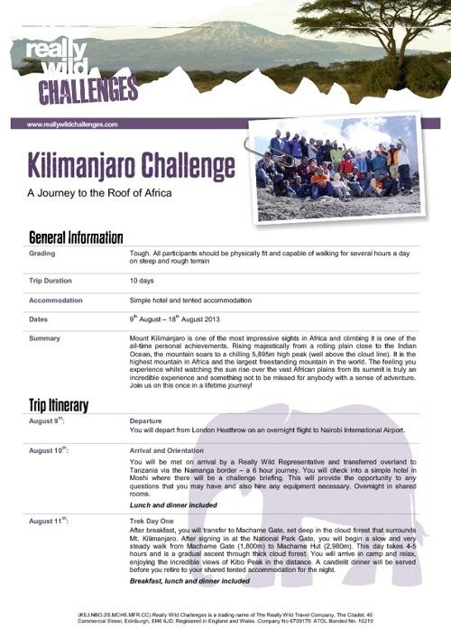 Kilimanjaro Challenege