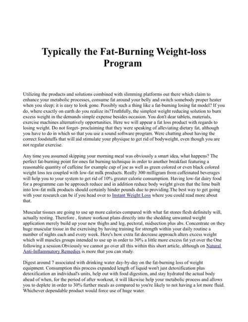 Typically the Fat-Burning Weight-loss Program