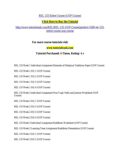 REL 133 Potential Instructors / tutorialrank.com