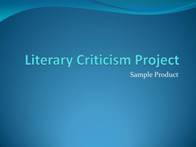 Literary Criticism Sample Product