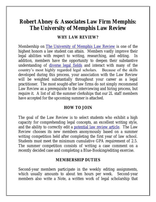 The University of Memphis Law Review