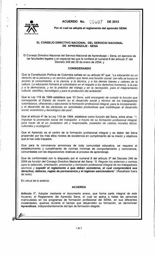 Acuerdo 7 de 2012