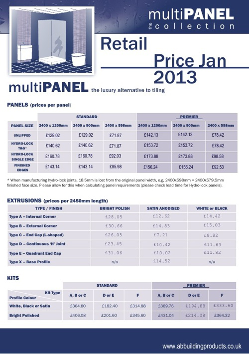 multiPANEL Retail Price List 2013