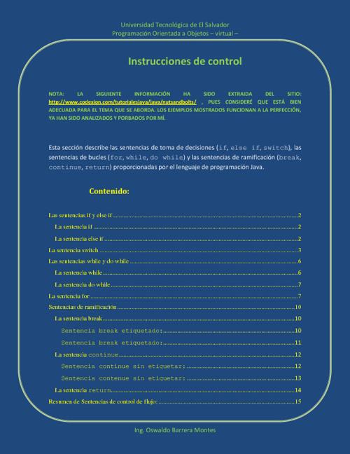 Tema 4: instrucciones de contol en Java archivo