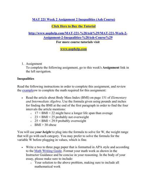 MAT 221 Week 2 Assignment 2 Inequalities (Ash Course)