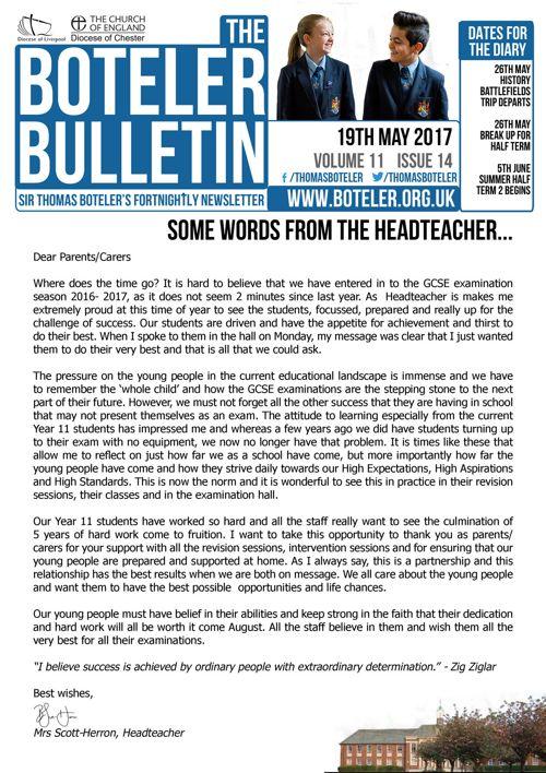 Boteler Bulletin 19th May 2017