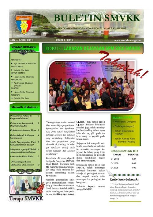 Buletin Sek. Men. Vokasional Kuala Klawang Edisi 1 2011