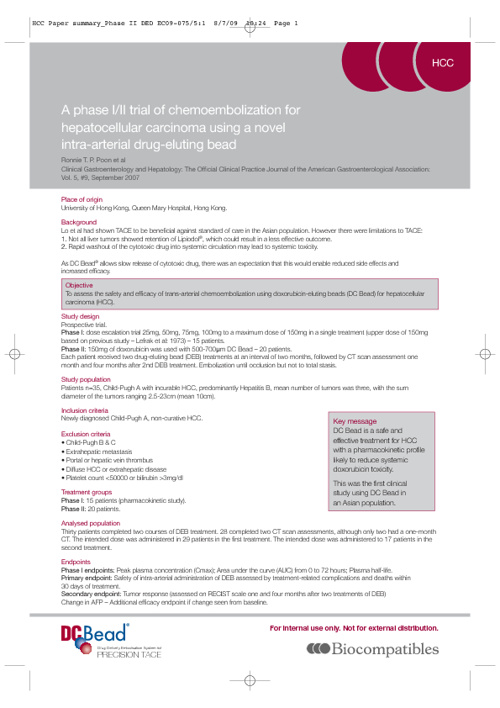 Clinical Summary:  Clinical Gastroent and Hepatology, Poon