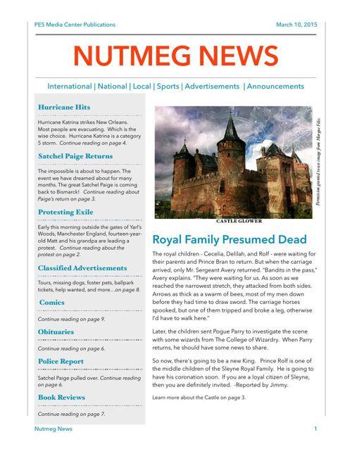 Nutmeg News-by PES Grade 4Matthews Class