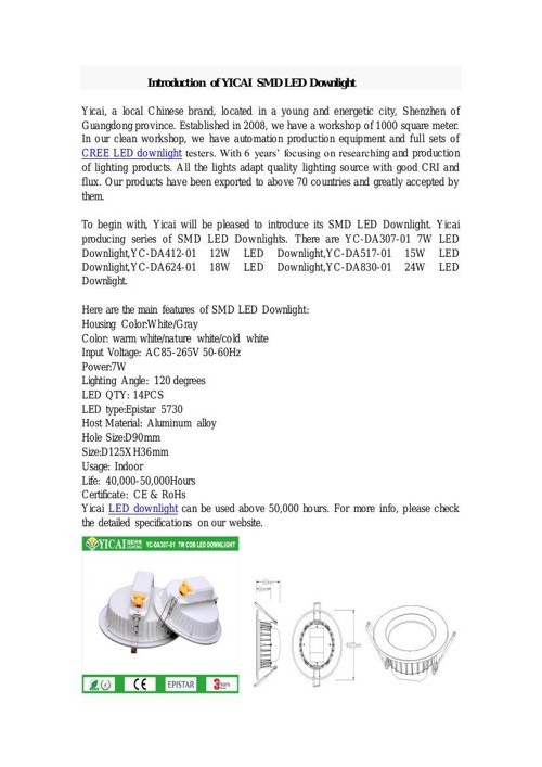 Introduction of YICAI SMD LED Downlight