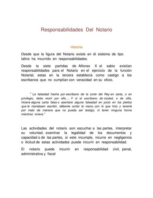 RESPONSABILIDADES DEL  NOTARIA