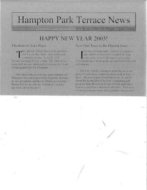 HPT Newsletter January 2003