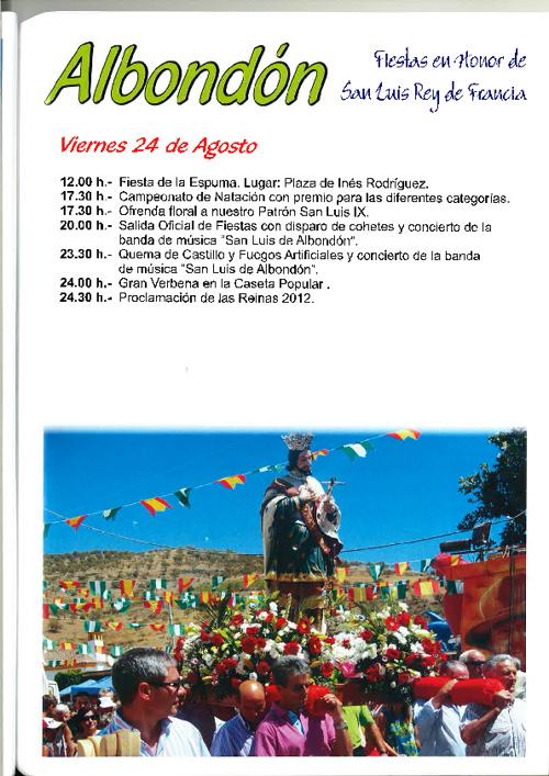 Programa Fiestas Albondon San Luis 2012