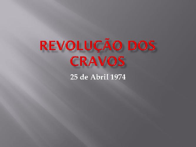 Revolução dos Cravos.
