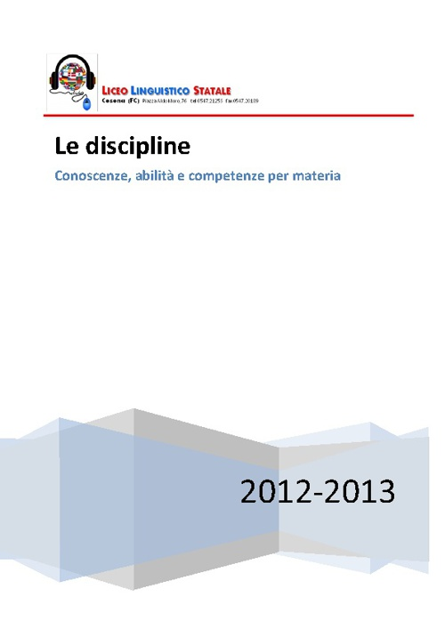 Programmazioni disciplinari