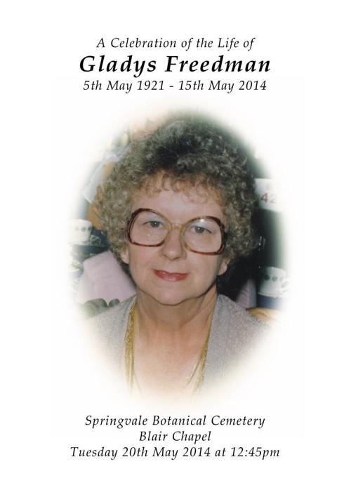 8 Order of Service for Gladys Freedman