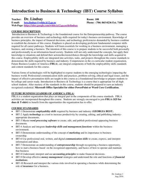 IBT Syllabus 2016 pdf