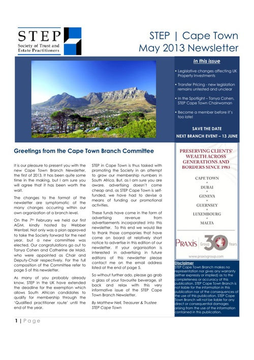 STEP | Cape Town - May 2013 Branch Newsletter