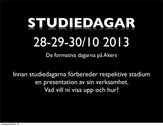 Studiedagar 28-29-30 Okt