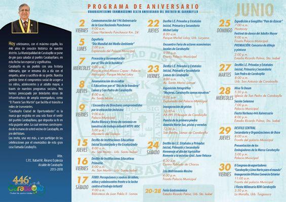 Cronograma de Actividades 446° Aniversario de Carabayllo