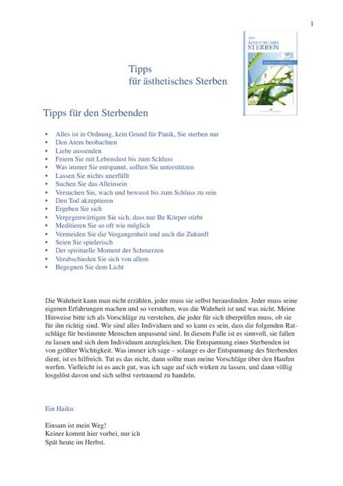 Tipps für Ästhetisches Sterben