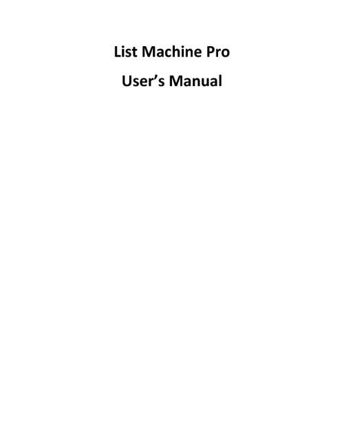 List Machine Pro Manual