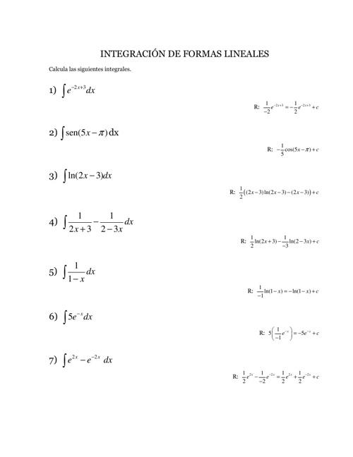 Integración de formas lineales