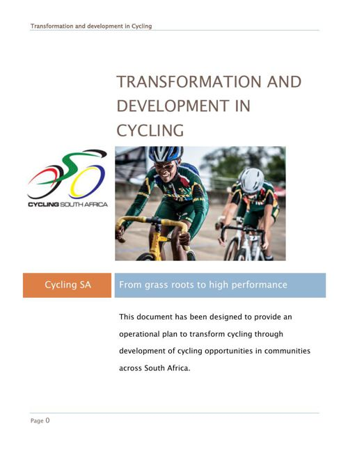 Transformation through development of cycling in South Africa