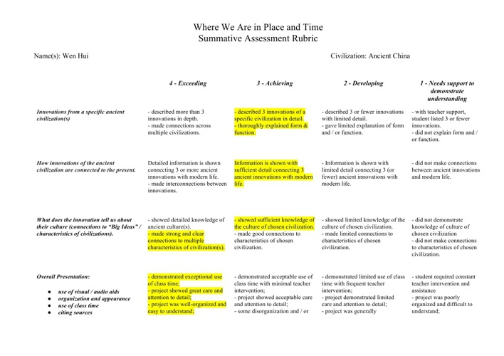 Wenhui's where we are in place and time rubric