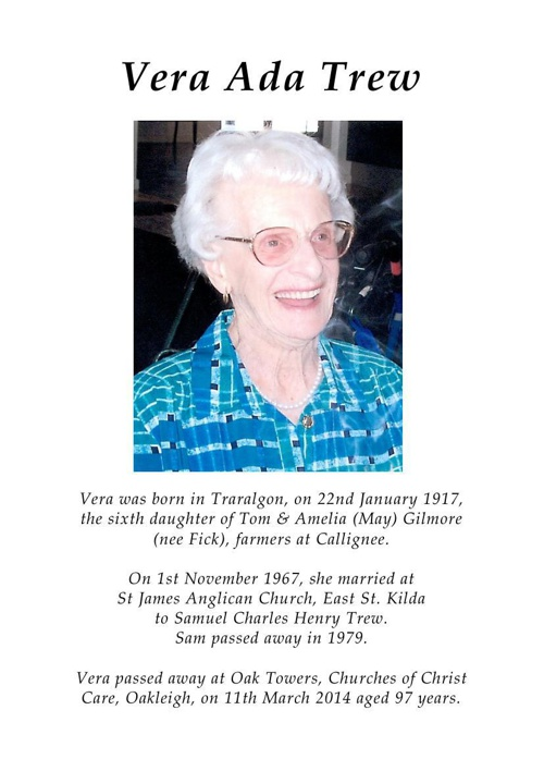 Order of Service for Vera Trew