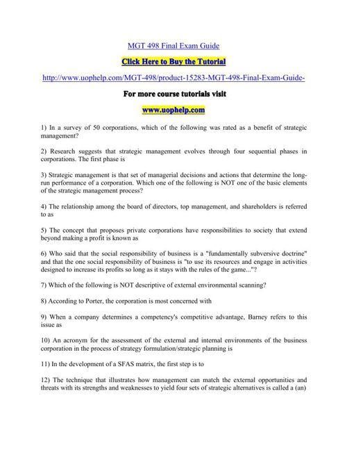 MGT 498 Final Exam Guide