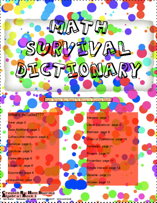 Math Survival Dictionary, math terms you need to know!