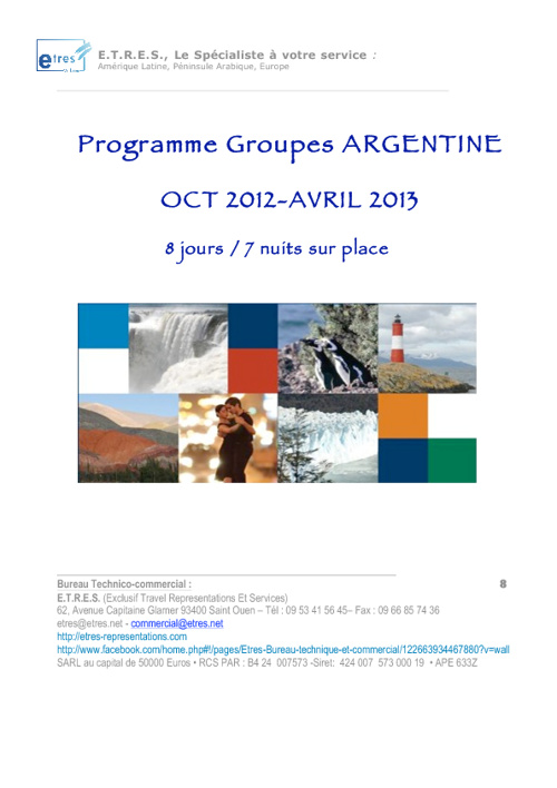 Argentine: programme circuit groupes octobre 2012 -Avril 2012