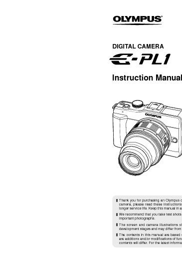 Olympus E-PL1 Manual