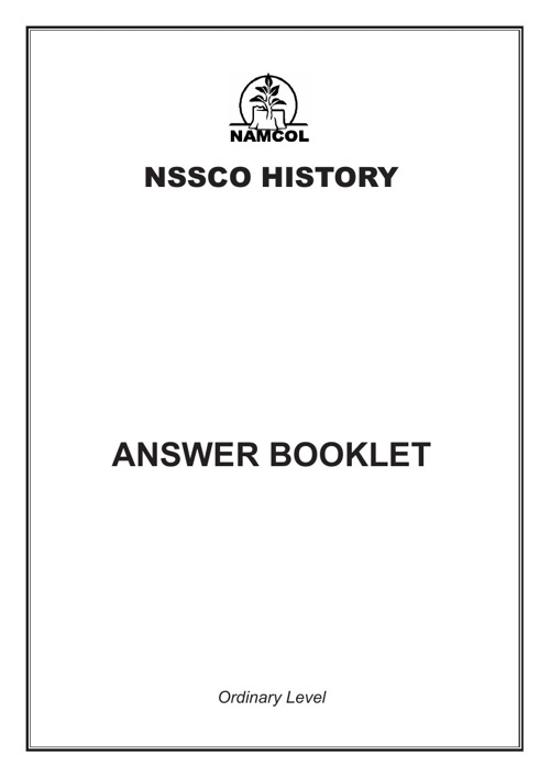 NSSCO History Answer Booklet