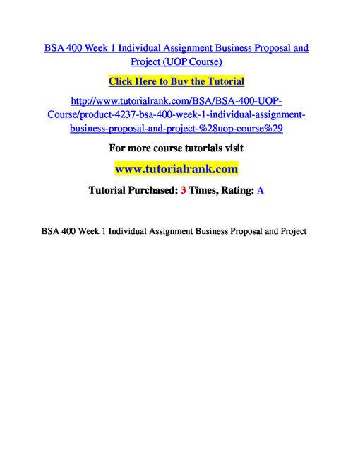 BSA 400 Course Success Begins / tutorialrank.com