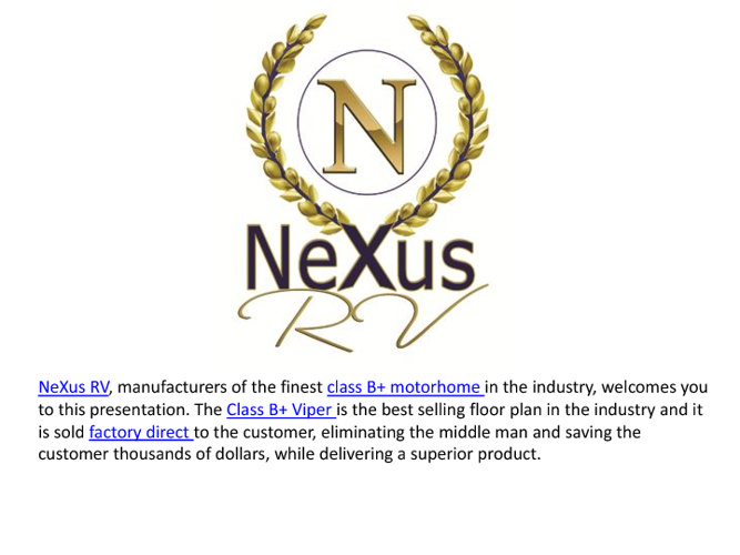 New Class B+ Motorhomes from NeXus RV