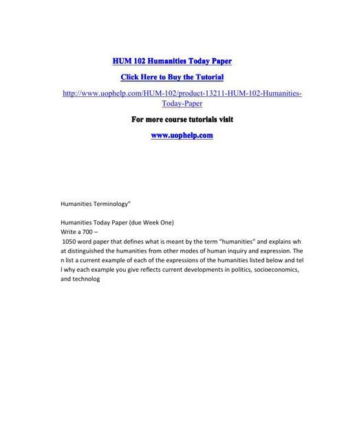 HUM 102 Humanities Today Paper