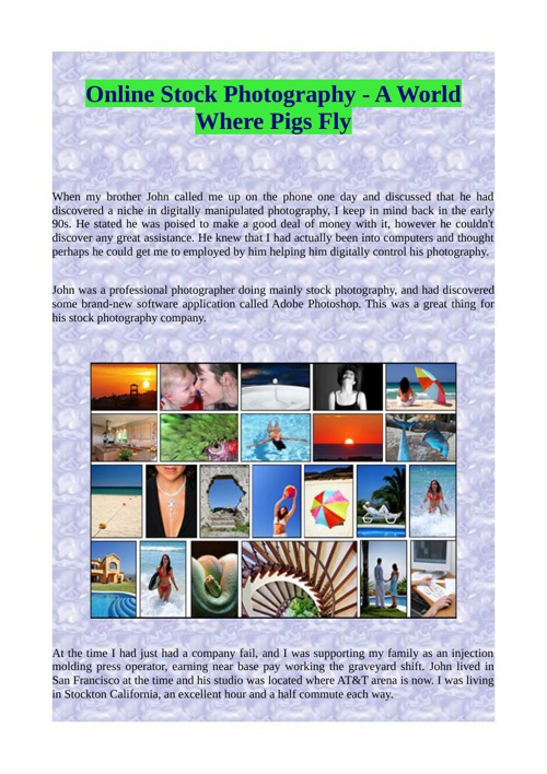 Online Stock Photography - A World Where Pigs Fly