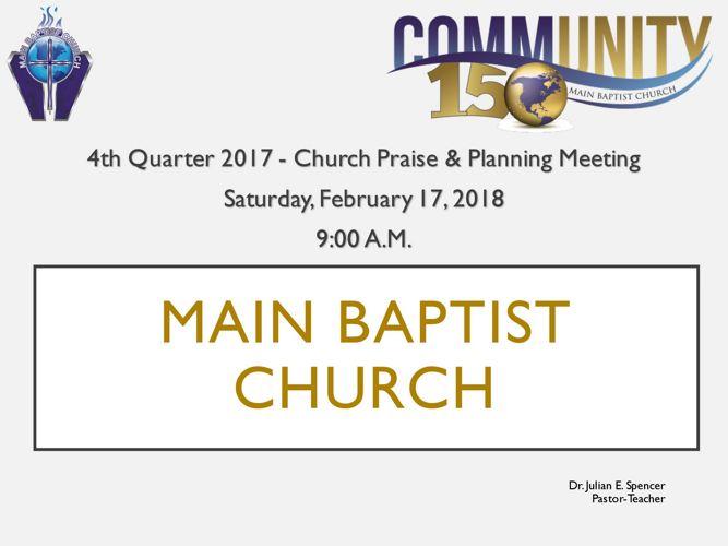 Church Praise & Planning Meeting (FEB. 2018)