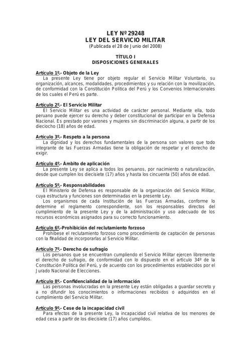 Ley29248 Ley del Servicio Militar