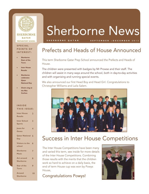Sherborne Prep Newsletter Term 1 2012