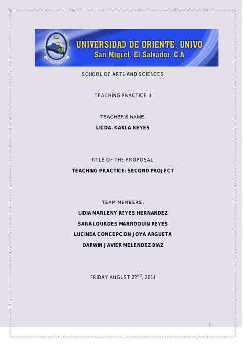 second proposal teaching practice II