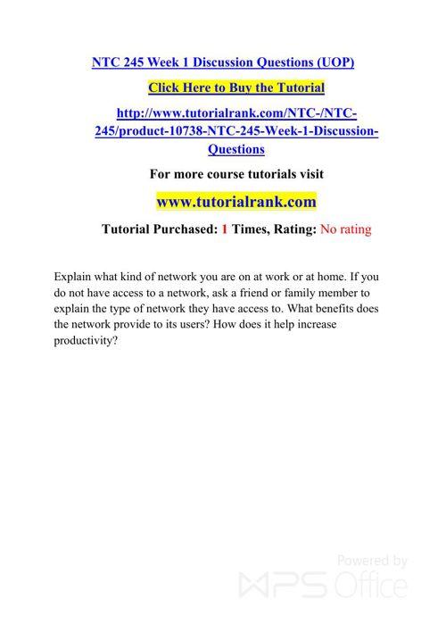 NTC 245 UOP Courses /TutorialRank