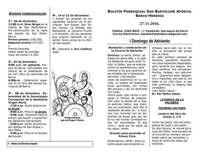 Boletín I Domingo de Adviento