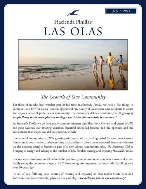 Hacienda Pinilla Newsletter - July 1, 2014