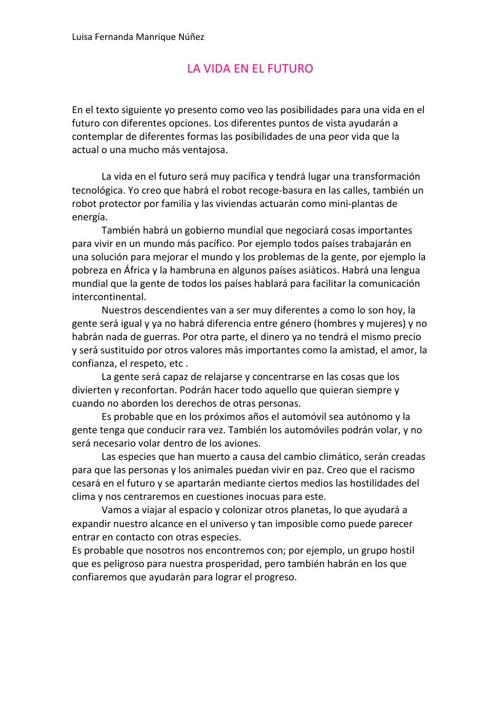 Copy of La Vida En El Futuro, Luisa Fernanda Manrique Núñez