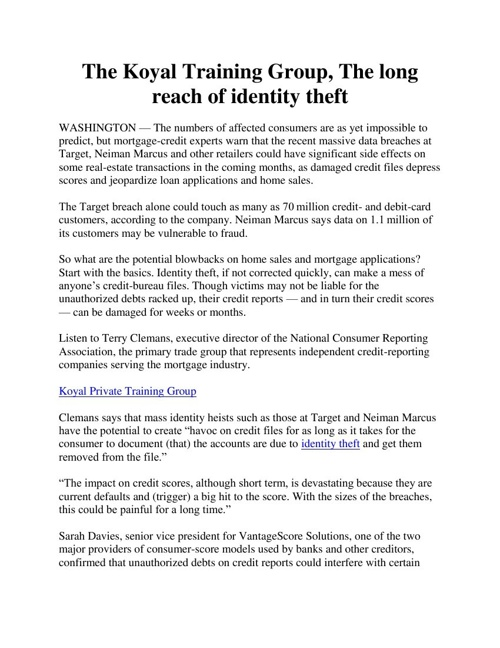 The Koyal Training Group, The long reach of identity theft